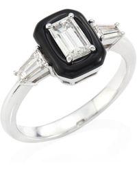 Nikos Koulis - Oui Diamond, Enamel & 18k White Gold Ring - White Gold Black - Size 6.5 - Lyst