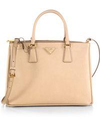 ed4ad7e53cab Prada - Women's Medium Lux Double-zip Leather Tote - Cammeo - Lyst