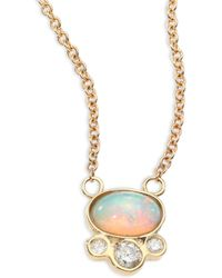 Jacquie Aiche - Diamond, White Opal & 14k Yellow Gold Pendant Necklace - Lyst