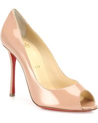 Christian Louboutin - Yootish 100 Patent Leather Peep Toe Pumps - Lyst