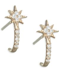 Anzie - Micro Aztec North Stardiamond & Gold Half Hoop Huggies - Lyst