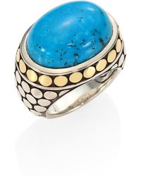 John Hardy - Dot Turquoise, 18k Yellow Gold & Sterling Silver Dome Ring - Lyst