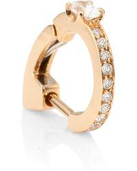 Repossi - Women's Pavé Diamond & 18k Rose Gold Hoop Single Earring - Rose Gold - Lyst