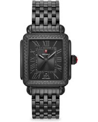 Michele Watches - Deco Madison Noir Black Diamond & Stainless Steel Bracelet Watch - Lyst