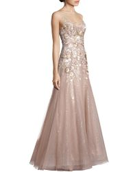 Liancarlo - Sleeveless Floral Sequin Gown - Lyst