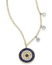 Meira T - Diamond, Blue Sapphire & 14k Yellow Gold Evil Eye Necklace - Lyst