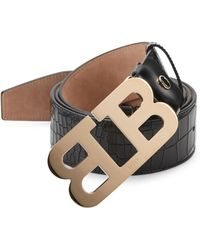 Bally - Mirror B Embossed Leather Belt - Lyst
