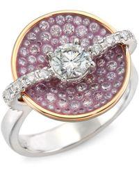 Plevé - Opus Pink Diamond & 18k Yellow Gold Round Ring - Lyst