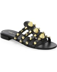 Balenciaga - Giant Studded Glossed Textured-leather Slides - Lyst