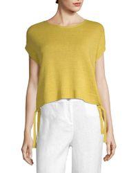Eileen Fisher - Organic Linen Knit Short Sleeve Jumper - Lyst