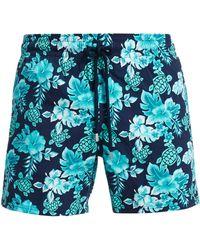 8dbcfc6708 Vilebrequin - Men's Turtles Flowers Swim Trunks - Navy - Lyst