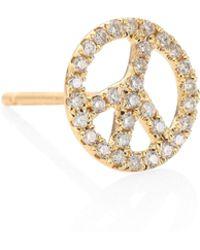 Sydney Evan - Peace Sign Diamond & 14k Yellow Gold Single Earring Stud - Lyst