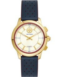 Tory Burch - Tory Track Hybrid Leather Smart Watch - Lyst