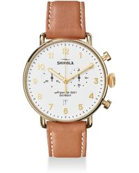 Shinola - The Canfield Chronograph Leather Strap Watch - Lyst