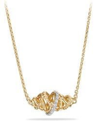 David Yurman - Crossover Single Station Necklace With Diamonds In 18k Gold - Lyst