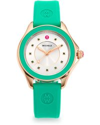 Michele Watches - Cape Green Topaz, Goldtone Stainless Steel & Silicone Strap Watch/green - Lyst