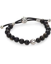 John Hardy - Dot Golden Sheen Obsidian & Sterling Silver Bead Bracelet - Lyst