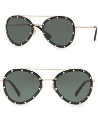 Valentino - 58mm Studded Aviator Sunglasses - Lyst