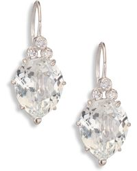 Anzie - Classique Pear White Topaz & White Sapphire Drop Earrings - Lyst