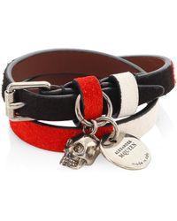 Alexander McQueen | Double Wrap Skull Leather Bracelet | Lyst