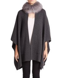 Sofia Cashmere - Fox Fur & Cashmere Mockneck Cape - Lyst