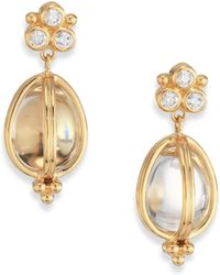 Temple St. Clair - Classic Rock Crystal, Diamond & 18k Yellow Gold Teardrop Amulet Earrings - Lyst