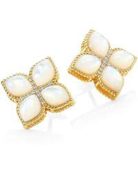 Roberto Coin - Venetian Princess 18k Yellow Gold, Mother-of-pearl & Diamond Stud Earring - Lyst