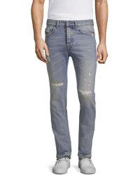 Diesel Black Gold - Dbg Stone Wash Rip & Repair Slim Jeans - Lyst