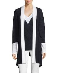 St. John - Welted Plisse Knit Cardigan - Lyst