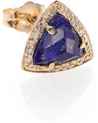 Jacquie Aiche - Lapis, Diamond & 14k Yellow Gold Triangle Single Stud Earring - Lyst