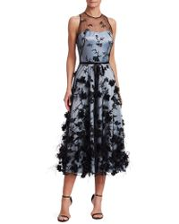 THEIA - Embroidered Tulle Midi Dress - Lyst