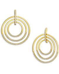 Carelle - Large Moderne Diamond & 18k Yellow Gold Trio Earrings - Lyst