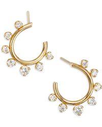 Zoe Chicco | Diamond & 14k Yellow Gold Hoop Earrings | Lyst