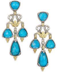 Konstantino - Iliada Chrysocolla, Quartz, 18k Yellow Gold, Sterling Silver Double Ring Drop Earrings - Lyst