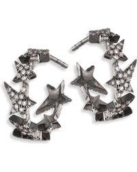 Diane Kordas - Star Diamond Line 18k Black Gold Hoop Earrings/0.5 - Lyst