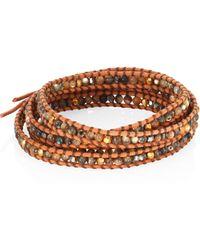 Chan Luu - Abalone, Crystal & Leather Beaded Wrap Bracelet - Lyst