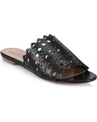 Alaïa - Perforated Leather Slides - Lyst