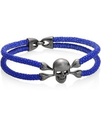 Stinghd - Blackened Silver & Stingray Skull Wrap Bracelet - Lyst