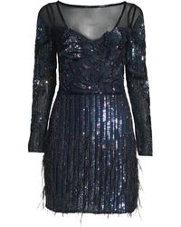 56c66fec Lyst - Dress the Population 'bailey' Long Sleeve Sequin Dress in Black