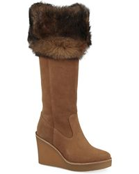 UGG - Valberg Fur & Suede Wedge Boots - Lyst