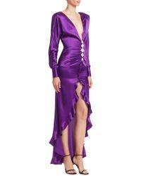 Alessandra Rich - Diamond Embellished Silk Dress - Lyst