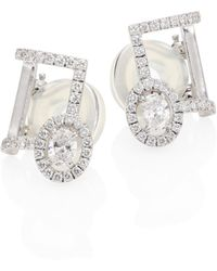Messika - Glam'azone Diamond & 18k White Gold Clip-on Ear Cuffs - Lyst