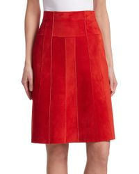 Akris Punto - Side-zip Suede Panelled A-line Knee-length Skirt - Lyst