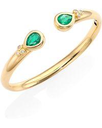 Temple St. Clair - Bella Diamond, Emerald & 18k Yellow Gold Bangle Bracelet - Lyst