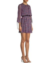 Shoshanna - Arandi Silk Floral Printed Blouson Dress - Lyst