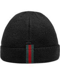 0f2f9d6b381e0 Gucci - Boy s Knit Web Trim Beanie Hat - Rose - Size Large (6-