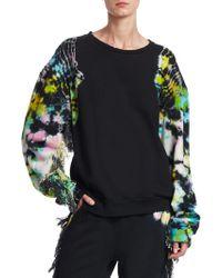 Alchemist - Es Vedra Terry Tie Dye Distressed Fringe-sleeve Sweatshirt - Lyst