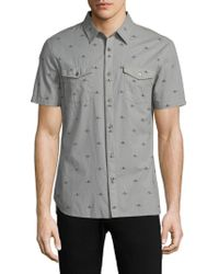 John Varvatos | Printed Short Sleeve Button Down Shirt | Lyst