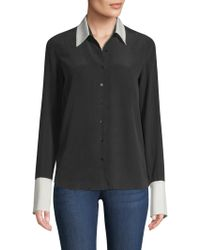 L'Agence - Women's Mia Two Tone Blouse - Black Ivory - Size Small - Lyst