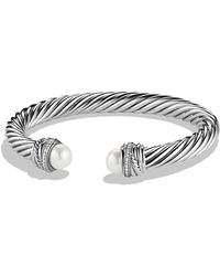 David Yurman | Crossover Bracelet With Pearls And Diamonds | Lyst